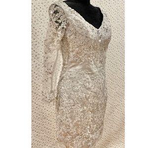 Dresses - Silver Lace and Rhinestones Dress - Size 4 EUC